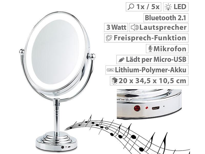 Kosmetikspiegel Mit Led Beleuchtung | Sichler Beauty Xl Led Kosmetikspiegel Akku Bluetooth Lautsprecher